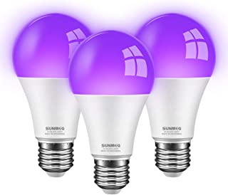 UV LED Black Light Bulb,A19 UV Bulb 8W Purple 60W Equivalent UVA Grade 395nm E26 Medium Base for Luminous Party Body Painting Decoration Special Effects Such as Fluorescent Poster 2 Pack