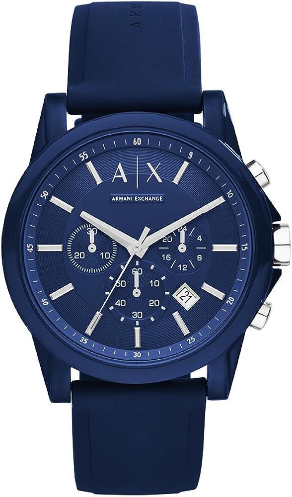 Armani exchange, orologio, cronografo per uomo, in acciaio inossidabile blu, e cinturino in pelle blu AX1327