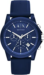 A|X Armani Exchange Men's Silvertone Navy Nylon with Silicone Straps Watch