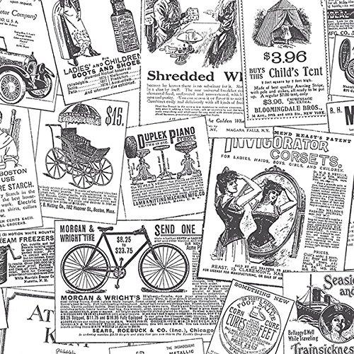 Norwall Wallcoverings BK32083blanco y negro impresión clásico de periódico papel pintado, Talla decals, 11 yd, Negro/Blanco