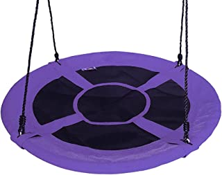 """Gaorui 100cm 40"""" Tree Swing Spinner Kids Swing Seat Saucer Nest Swing Round Ring Large Tire Swing – 200 KG Weight Capacity, Fully Assembled, Easy to Install Purple"""