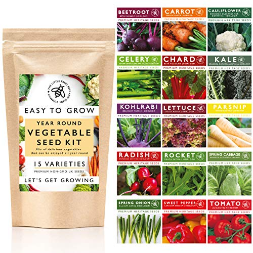 Vegetable Seeds for Gardening, 15 Heirloom Seed Varieties Included in This Grow Your Own Vegetable Kit, The Little Trees Bees and Seeds Company