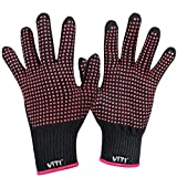 Heat Resistant Glove for Hair Styling, VITI Anti-Scald Heat Resistance Blocking Gloves for Flat Iron, Curling Wand Gloves and Hair Styling Tools - 2 Pcs