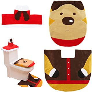 ShellKingdom Toilet Seat Cover and Rug Set Tank Lid Cover for Party Bathroom Sets(Deer)