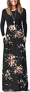 LBPSUUEW Women's Long Sleeve Loose Plain Maxi Dresses Casual Long Dresses with Pockets Floral Printed Dress