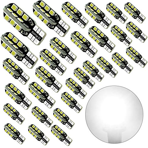 Debonauto-30 x T15 LED Light Bulb Super Bright 6000k 12v T10 921 168 194 Trailer,Boat,RV,Iandscaping & Camper Interior Wedge 24-SMD(Pure White)