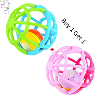 Newborn Baby Rattle Toy Set Musical Toys Bendy Ball Little Boys Girls Teether Ball Music and Flashing Lights Shake and Roll Ball Gym Balls for 3-18 Months Toddler, Infant, Children (green + pink)