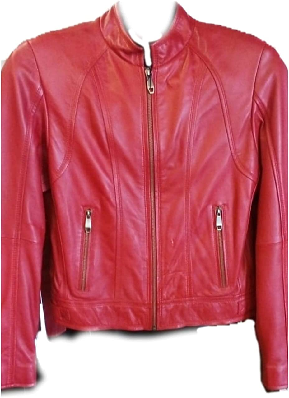 Men's Pure Leather Jacket in Red- Casual style sheep hide (Large)