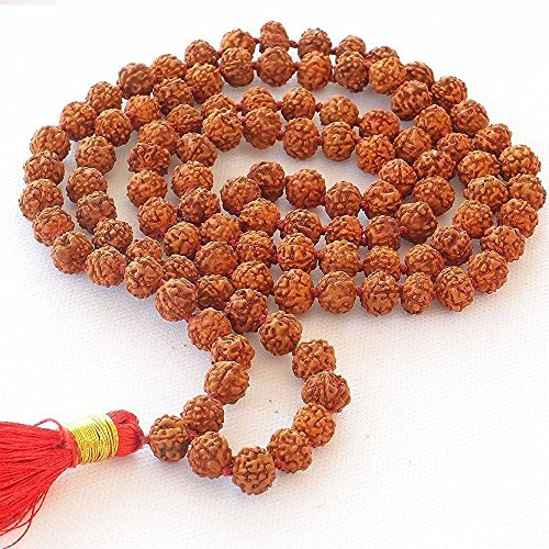 JX2 Rudraksha Mala 108Beads Necklace, Seed Bead Natural Himalaya Rudraksha Seed Prayer Beads Wrist Mala Wrap Bracelet Bead Size 9 mm