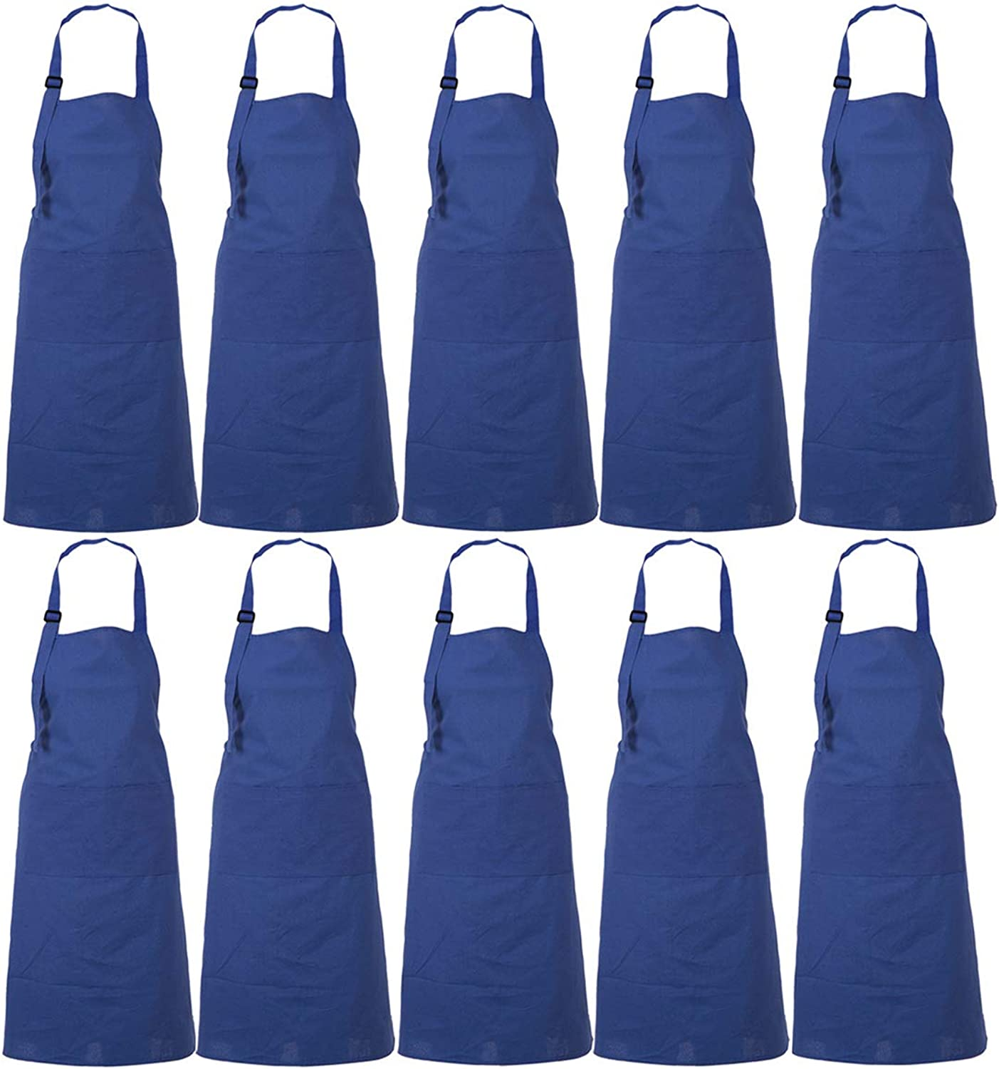 RAJRANG BRINGING RAJASTHAN TO YOU Apron Wholesale Lot of 10 - Professional Restaurant Cooking Chef Aprons for Women - Navy bluee - 35  x 27