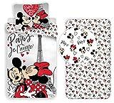 LTP Minnie y Mickey Mouse Paris 3Piezas Juego de Cama Individual de Funda...