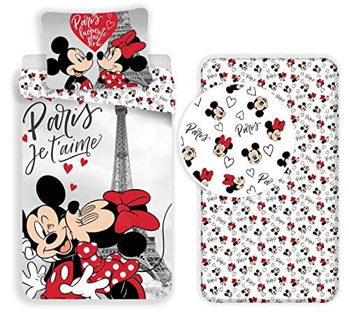 Minnie e Topolino Paris 3 Pezzi Set Letto Singolo Copripiumino + Federa + Lenzuola c/Angoli Cotone Biancheria da Letto Bambini