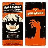 10 x Halloween Einladungskarten Kostüm Party Geburtstag Einladung 31.10. - Zombie Kürbis