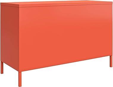 Novogratz Cache 2 Door Metal Locker Accent, Orange Cabinet