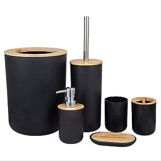 6 pièces d'accessoires de Salle de Bain en Bambou et Bois,Cadeaux, Brosse de Toilette, Porte-Brosse à Dents, Tasse, Porte-...