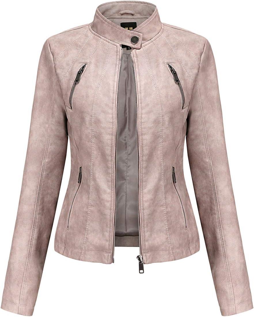 SENDEREAL Women Faux Leather Jacket Pink Zipper Moto Biker Leather Casual Jacket,L