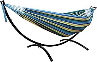 Lazy Daze Hammocks Double Hammock with Stylish Space Saving Steel Stand, 450 Pounds Capacity, Blue&Yellow
