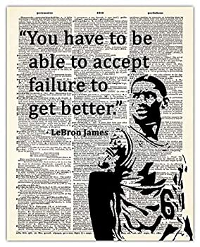 LeBron James Motivational Dictionary Wall Art Print  Unique Room Decor -  8x10  Unframed Picture - Great Gift Idea Under $15