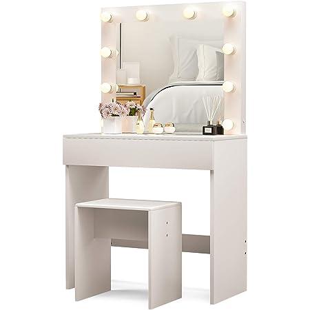 White Dressing Table with LED Mirror Light 2 Drawers Makeup Vanity Desk Girl