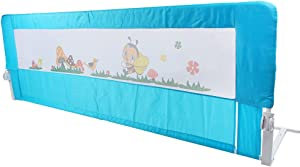Baby Bed Rail Guard, Blue 59 x25 Inch Visual Mesh Bed Saftey Fence for Chilren Toddler