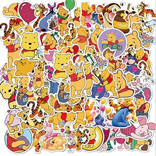 DUOYOU Winnie The Pooh Graffiti impermeable Skateboard Maleta de viaje teléfono portátil equipaje pegatinas lindos niños niña juguetes 50 piezas