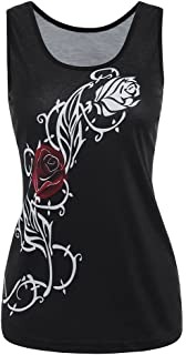 VESKRE Women's Summer Floral Print Tank Tops Plus Size Sleeveless Vest