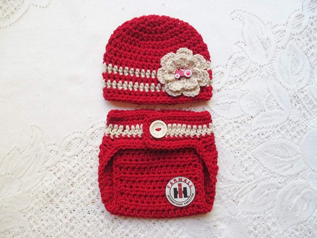Crochet Baby International Harvester - Farmall Hat and Diaper Cover Set - Baby Photo Prop - Baby Shower Gift - Available in 0 to 6 Months