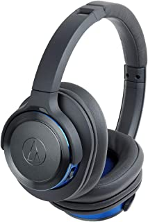Audio-Technica ATH-WS660BTGBL Solid Bass Bluetooth Wireless Over-Ear Headphones with Built-In Mic & Control, Gunmetal/Blue