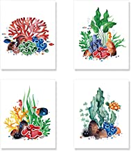 Coral Art Prints, Sea Life Wall Art Set of 4 Unframed 8x10 inches
