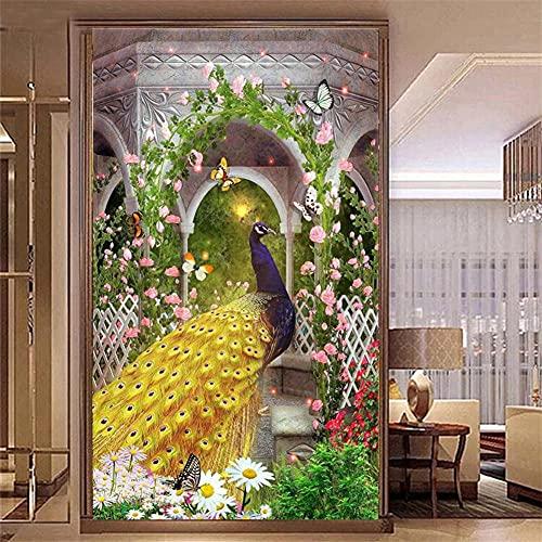 Kit de Pintura de Diamante 5D grande,Flor de pavo real adultos pintura por numeros,diamante imitación cristal bordado diamantes para manualidades lienzo para decoración del hogar Square drill 50x150cm