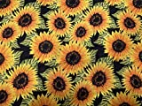 Scuba Lycra-Jersey-Stoff mit Sonnenblumen-Druck, Meterware