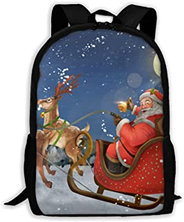 Cartoon Santa Ride Sleigh Deliver Presents Adults Classic Causal Backpacks Teens Waterproof Travel Bag