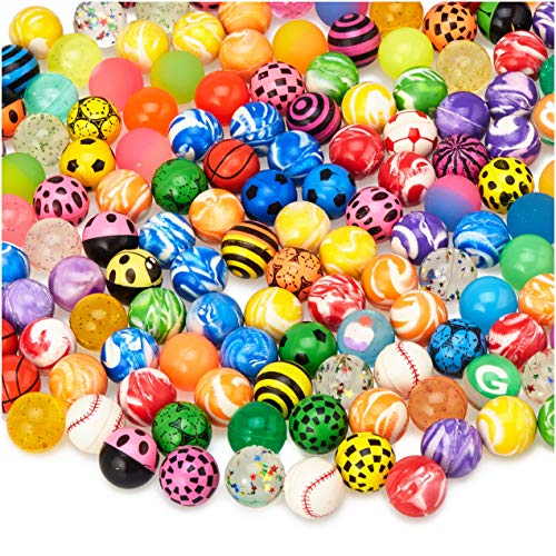 MATICAN 100-Pack Bouncy Balls Bulk, Assorted Design 1.25' Rubber High Bouncing Balls for Kids, Party Favors, Carnival Prizes, 1.25-Inch