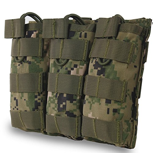 Triple Mag Pouch for M4 M16 AR15 HK416 Mag Holder Open-Top Military Airsoft Magazine Pouch Tactical Backpack Vest Molle Accessories (Digital Camo) -  WST, WoSporT-MG-13-Camo-AOR2