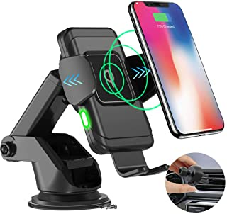Automatic Clamping Wireless Car Charger, HALOViE 10W Fast Charging Qi Car Phone Mount Holder for Windshield Dashboard Air Vent for iPhone Xs MAX XS XR X 8 8+, Samsung S10 S10+ S9 S9+ S8 S8+