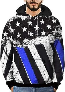 Willsa Mens 3D Star Stripe Printed Pullover Shirts Long Sleeve Hooded Sweatshirt Tops