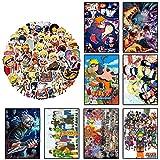 GTOTd Anime Naruto - Póster (8 unidades, 11,5 x 16,5 pulgadas, con pegatinas de anime, 50 unidades), versión HD, lienzo impreso, para salón, sala de estar, decoración de pared