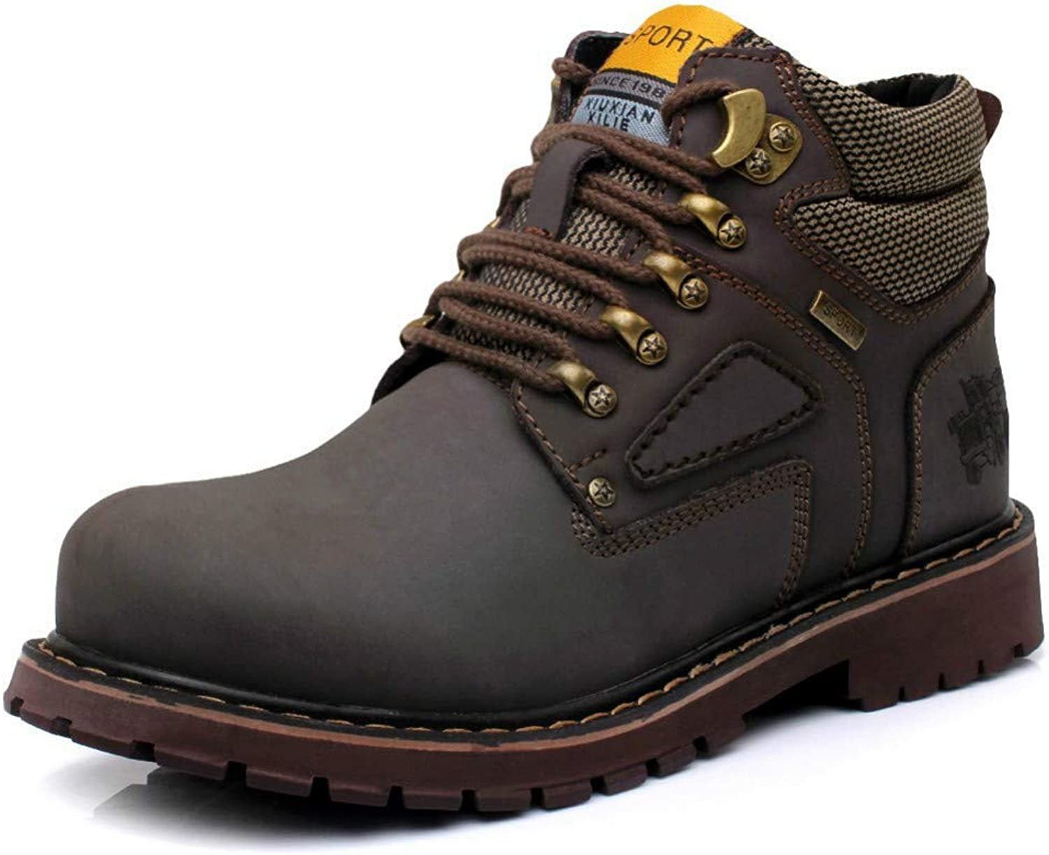 DUODUO Men's 757A Genuine Leather Soft Toe Work Snow Boots Brown
