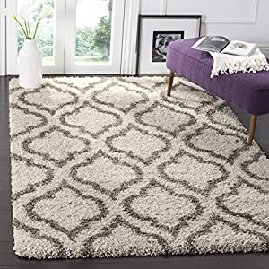 Safavieh Hudson Shag Collection SGH284A Moroccan 2-inch Thick Area Rug, 9′ x 12′, Ivory / Grey