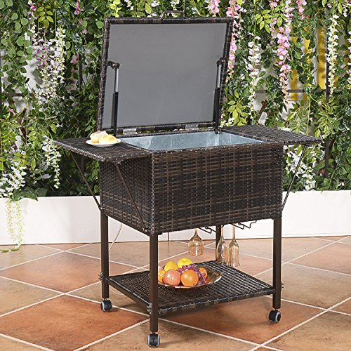 Casart Portable Rattan Cooler Cart, 108 Quart Outdoor Cooling Trolley for Patio & Pool Party, Ice Chest Portable Rolling Patio Cooler
