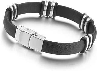 Men's Stainless Steel Rubber Bracelet Bangle Cuff Punk Rock Silver Black