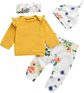 XMWEALTHY Unisex Newborn Outfits Clothes Sets Comfy Baby Girls Pant Sets 4 PCS Long Sleeve Tops Headband Xmas