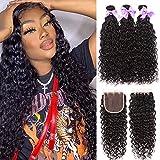 8A Brazilian Virgin Human Hair Water Wave Bundles With 4inch x 4inch Lace Closure 100% Human Hair (14 16 18+12 closure, free part) Wet and Wavy Bundles With Closure Can Dyed Laritaiya