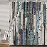 JAWO Rustikaler Duschvorhang aus Holz für Badezimmer, Blaugrau Grunge Holzbretter Scheunentür Beruf Polyester-Stoff Badzubehör Vorhang Dekor mit 12 Haken 179,9 x 177,8 cm