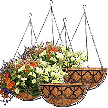 4pcs Hanging Planter Basket with Coco Coir Liner 16  Metal Round Wire Plant Holder with Chain for Porch Decor Planter Pot Hanger Garden Decoration Indoor Outdoor Watering Hanging Baskets