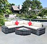 <span class='highlight'><span class='highlight'>Panana</span></span> Rattan Furniture Set 5 Seater Lounge Wicker Sectional Corner Sofa Set with Coffee Table Garden Conservatory Outdoor Patio Poolside Mixed Grey