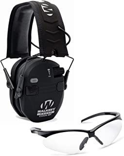 Walkers Razor Quad Electronic Shooting Hearing Protection Muff, Bluetooth Sync with Mobile Devices (Black) and Protective Glasses Kit
