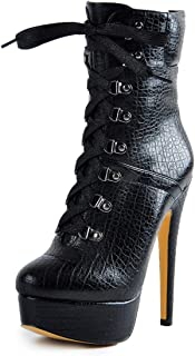 onlymaker Womens Snake Platform Stiletto Ankle Boots for Women Lace Up Side Zipper