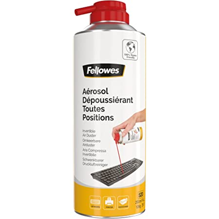 Fellowes Aérosol dépoussierant pour le bureau, comprend un embout de précision, toutes positions, 200ml, 9974805