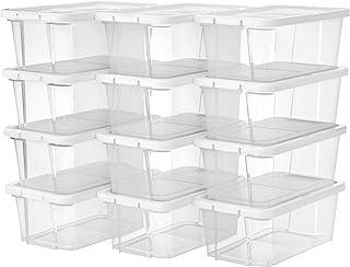 SONGMICS Lot de 12 boîtes à chaussures avec Couvercle, Boîte de rangement pour chaussures, outils de couture, Petite boîte...